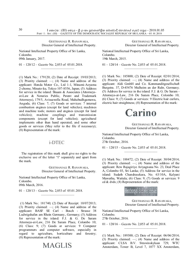 SEC . (III) – GAZETTE OF THE DEMOCRATIC SOCIALIST REPUBLIC OF SRI LANKA – 05. 01.2018